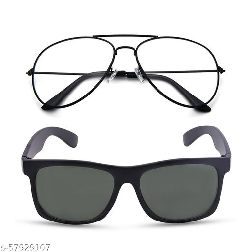 Momentum Clear Black Aviator With Green Black Square Sunglasses   Free Size   MM-141
