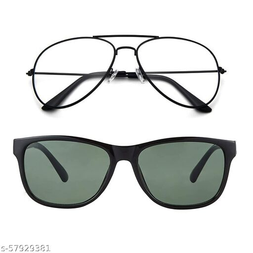 Momentum Clear Black Aviator With Green Black Square Sunglasses   Unisex   Free Size   MM-142