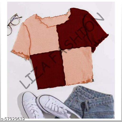 Half sleeves cuoup top two colour