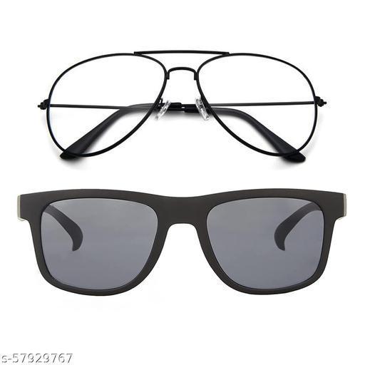 Momentum Clear Black Aviator With Black Black Square Sunglasses   Unisex   Free Size   MM-143