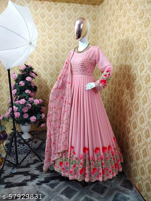 Designer Georgette Fabric Heavy Embdroidery & Diamond And Mirror Work Gown With Fency Embdroidery Work Dupatta