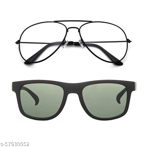 Momentum Clear Black Aviator With Green Black Square Sunglasses   Adult Unisex   Free Size   MM-144
