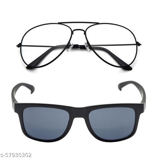 Momentum Clear Black Aviator & Black Black Square Sunglasses   Adult Unisex   Free Size   MM-145