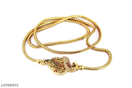 S L GOLD 1 Gram Gold Micro Plated AD Stone Peacock Design Muggappu Chain D1 Girls and Women