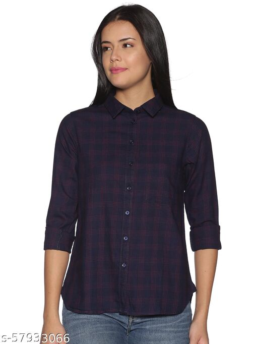 K A APPARELS - Enovate London 100% Cotton Flannel Plaid Shirt Full Sleeve Business Casual Check Shirt Blouse Tops for Women