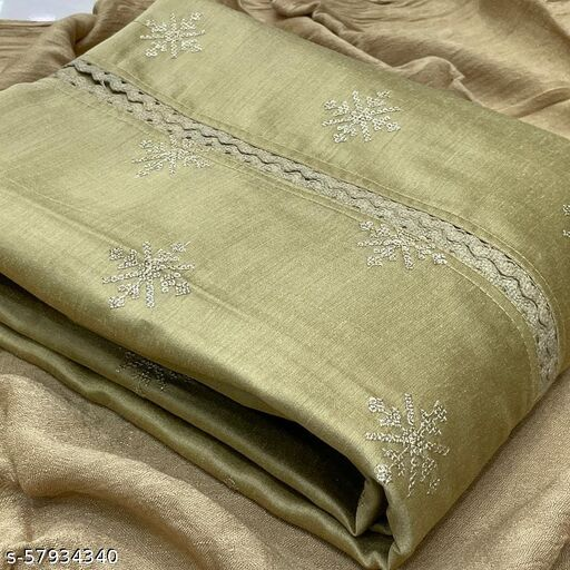 Opulent Mehendi Colored Casual Wear Embroidered Silk Dress Material