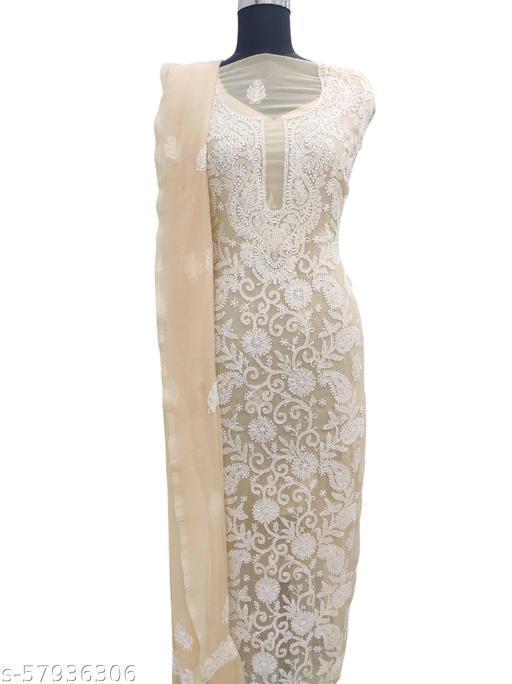 Shyamal Chikan Hand Embroidered Lucknawi Chikankari Geoorgette Suit Length - 8052622506