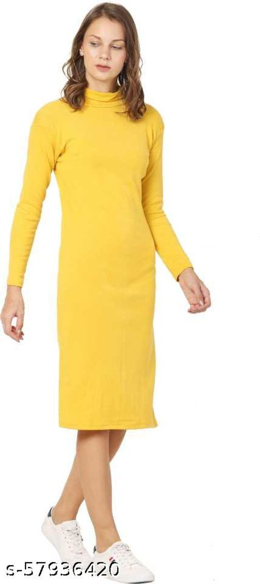 Alexa India Women Bodycon Full Sleev Mustard Dress