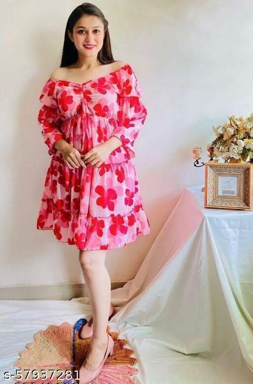 DGee Women's/Girls Flower Frock Dress Pink