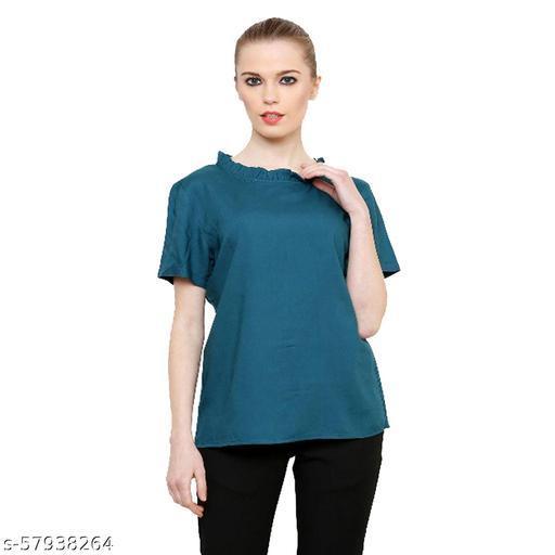 Liqvid Casual Half Sleeve Solid Women Green Top