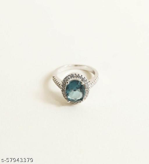 Prussian Blue Diamond Ring