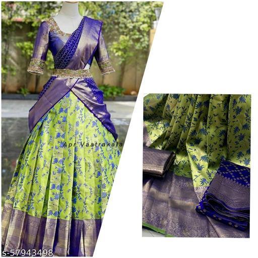 ROSE CLOUD HALF SAREE LEHGHA CHOLI(Pure tissue paitani weaving Lehangas ,with contrast blouse and contrast cut work voni)