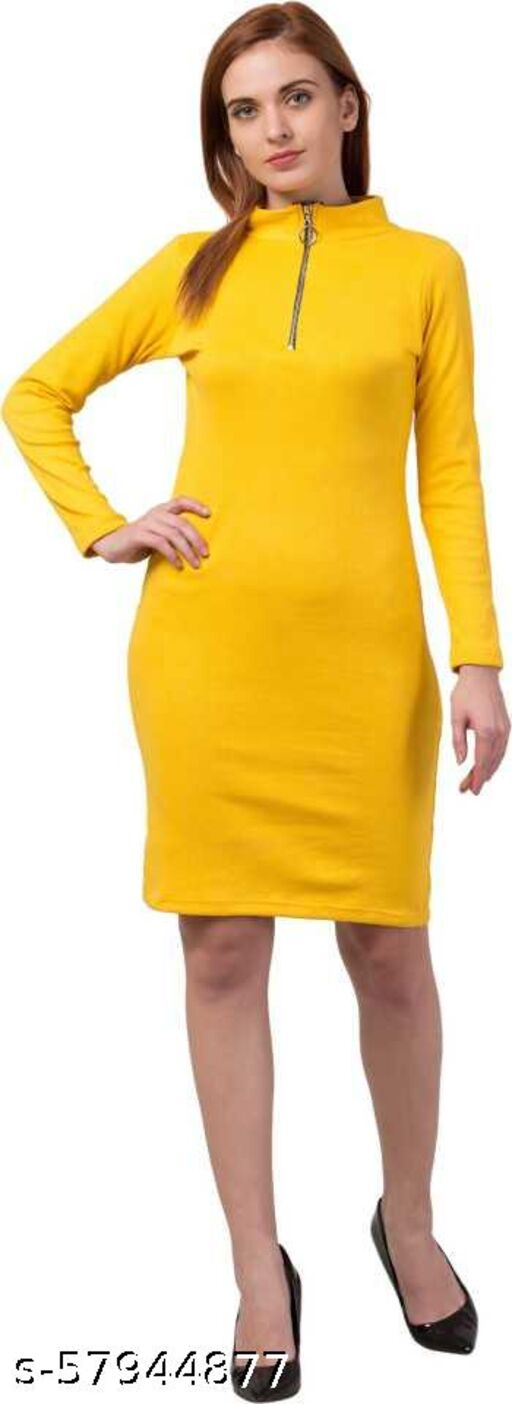 Alexa India Women Bodycon Full Sleev Front Zip Mustard Dress