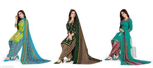 Crepe Printed Kurta & Patiyala Material Combo Pack of 3 (Unstitched)Suits