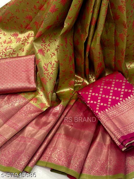 ROSE VILLA HALF SAREE LEHGHA CHOLI(Pure tissue paitani eaving Lehangas ,with contrast blouse and contrast cut work voni)