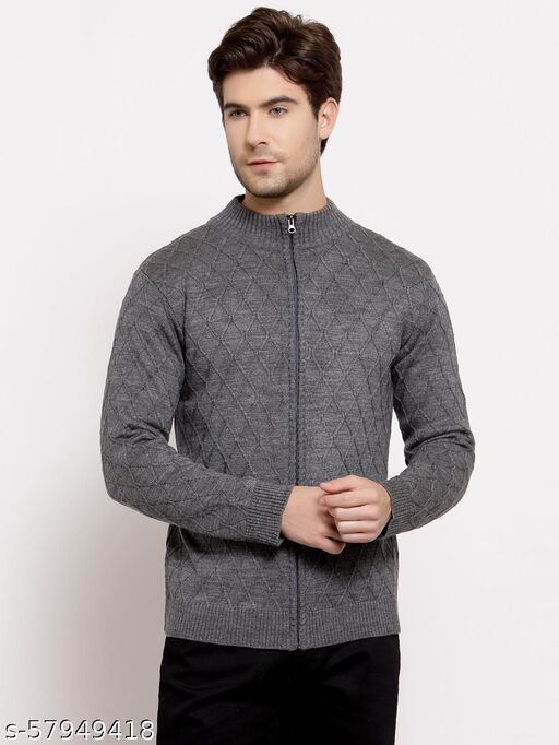Style Quotient Mens Geometric Front-Open Sweaters