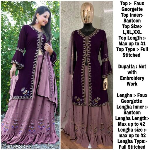 Miss Ethnik Women's Full Stitched Embroidered Purple Faux Georgette Top and Lehengha with Santoon Inner and Net Dupatta Full Flared Lehenga Choli Suits