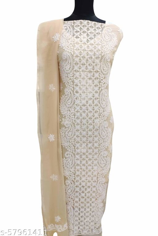 Shyamal Chikan Hand Embroidered Lucknawi Chikankari Georgette Suit Length -
