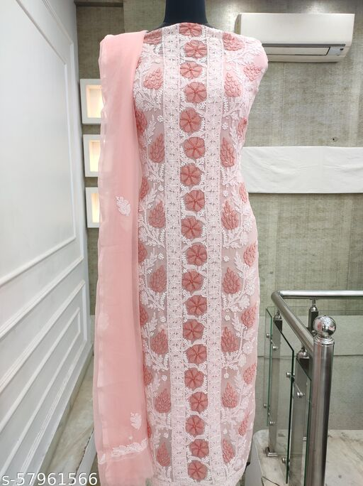 Shyamal Chikan Hand Embroidered Lucknawi Chikankari Georgette Suit Length - 8052622506