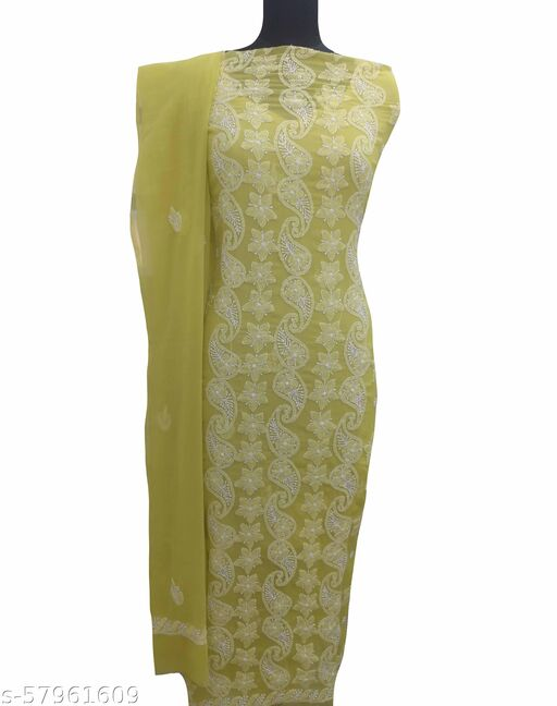 Shyamal Chikan Hand Embroidered Lucknawi Chikankari Georgette Suit Length