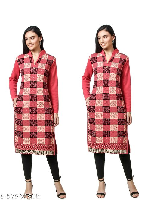 BLUSHH COLLECTION WOMEN'S WOLLEN KURTIS PACK OF 2