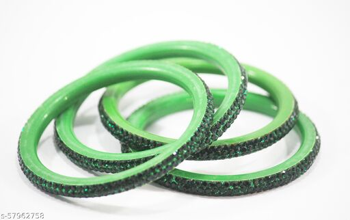 new stylish seep bangles for girls and women (green color) set of 4