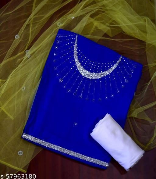 Blue Crystal work Cotton Silk KURTA FABRIC