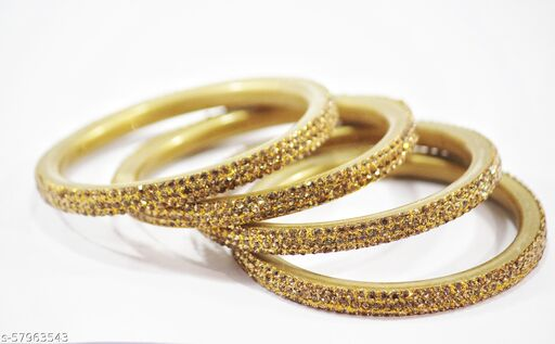 Golden Color Bangles for Girls & Women set of 4 pieces