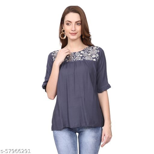 Pattern Part Embroidery Casual Half Sleeve Regular top for Women's