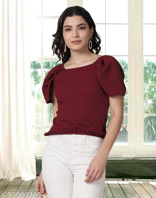 Lycra Maroon Knitted Crop Top For Women