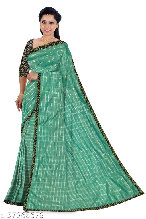 WOMEN'S FANCY SAREES WITH POCHAMPALLI LACE BORDER WITH UNSTITCHED BLOUSE