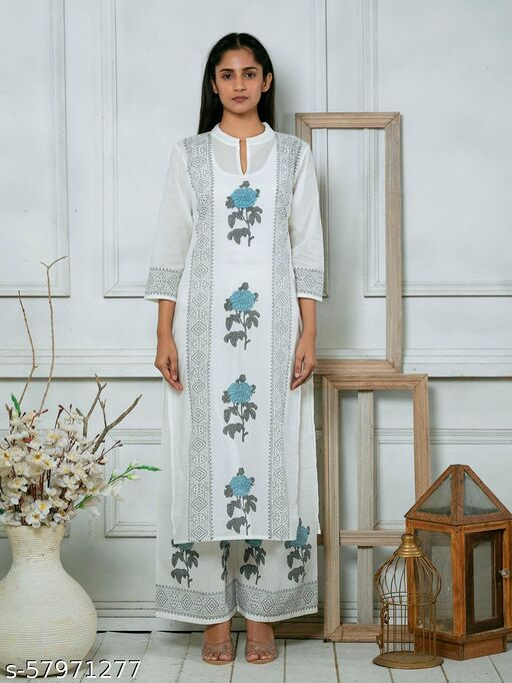 White Cotton Printed Suit Set