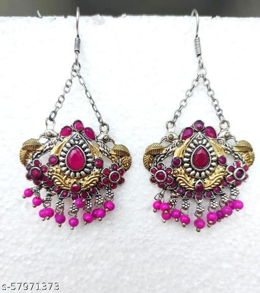 Gold-Pink Peacock Tribal Earrings for Girls & women
