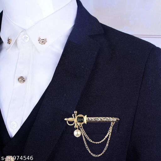 Mens Gold Plated White Pearl Lion Knight Sword Austrian Black Rhinestone Crystal Suit Blazer Brooch Pin For Men And Boys ABROBL10-011