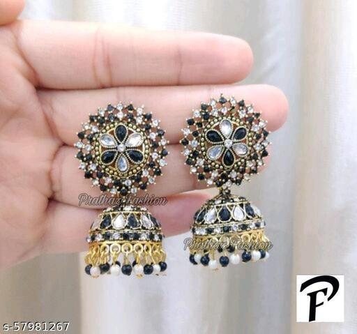 Prathaz Fashion Golden Earrings
