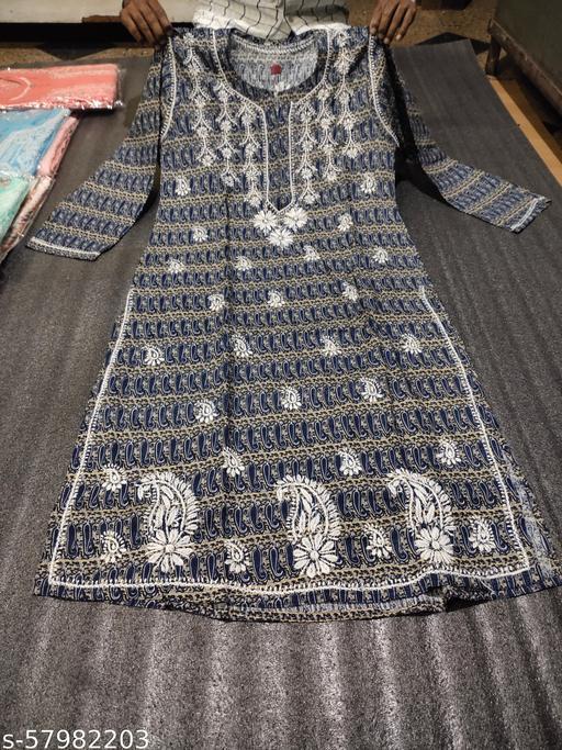 Lucknawi Chikankari Hand Embroidered cotton printed