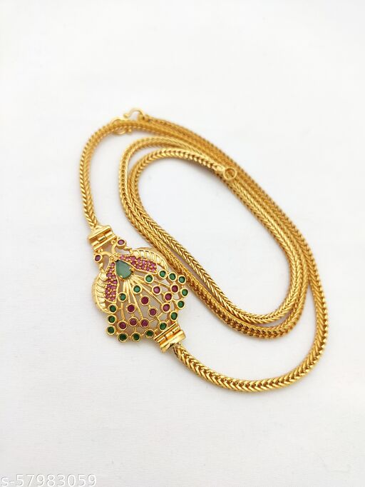 Premium Quality Micro Gold Plated Peacock Mogappu Chain