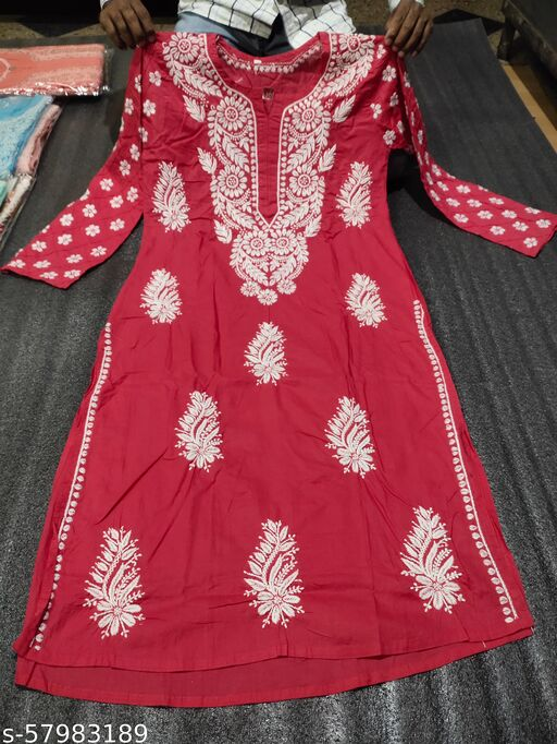 lucknawi chikankari hand embroidered cotton kurti