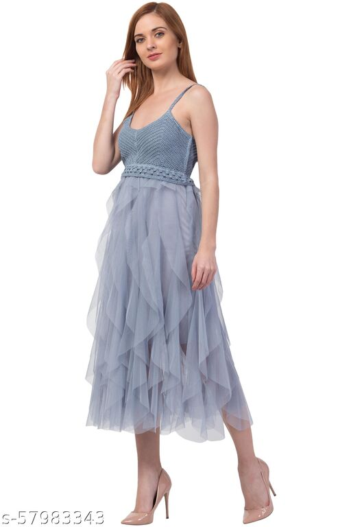 Women Fit and Flare GREY Dress
