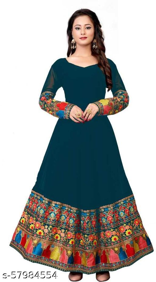 Embroidered Georgette Blend Semi Stitched Anarkali Gown