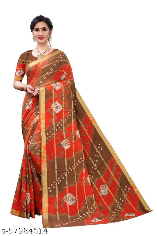 PURE COTTON  WITH HAND BANDHEJ  Sarees