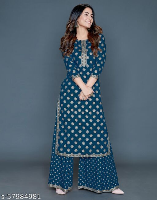 SAVITRI CREATIONS Premium Quality Rayon Printed Heena Khan Kurti and Palazzo Set / Kurta Set (BLUE)