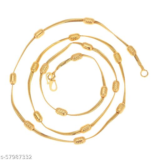 Maalgodam Light 22 Inches 5.5 Gram Designer Trendy Gold Plated Smooth Brass Chain Necklace Mala for Women and Girls