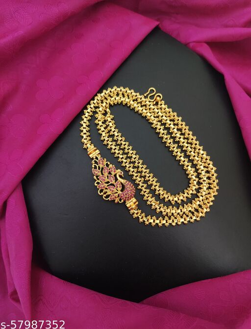 One Gram Micro Gold Plated South Indian Traditional Peacock Gajri Mugappu Chain