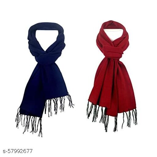 MINI MAX Winter Warm Muffler For Unisex Handloom Poly-Wool Scarf Blend (Pack of 2)