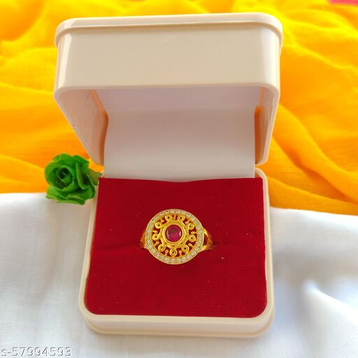Party Wear Red Ruby Gold Ring With American Diamond Embedded - Premium Gold Imitation Ring