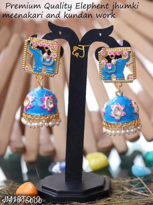 Rajwadi Stylish Traditional Elephant Kundan Jumki for women