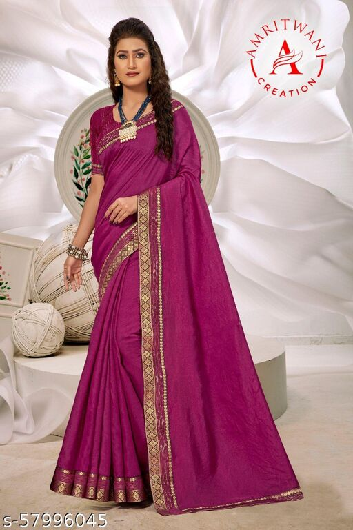 Poly Chiffon Purple Lily Printed Poly Georgette SareePack Of 1