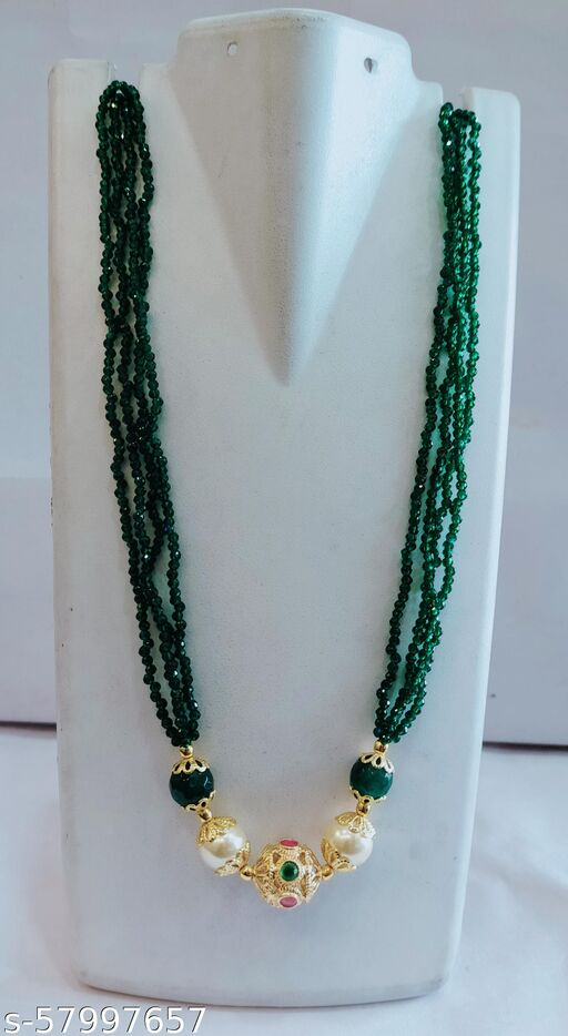 Green Beeds chain with one gram gold plated balls