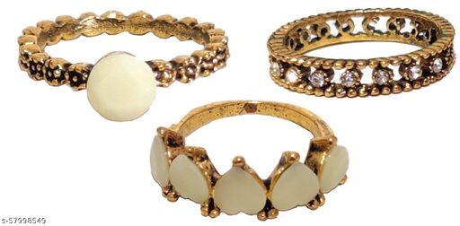 3 in 1 Combo Of Ethnic Party Wear Stylish Vintage Tribal Finger Rings Stone, Zinc, Brass, Acrylic, Crystal, Copper Crystal Gold Plated Ring Set